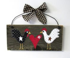 Pair of Primitive Chickens Hand Painted on Reclaimed Barn Wood, Folk Art Chickens, Red Heart, Rustic Barn Wood, Chickens, Rustic Sign by barbsheartstrokes on Etsy
