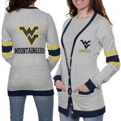 West Virginia Mountaineers Ladies Study Hall Long Sleeve Cardigan - Ash