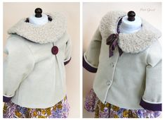 Fully lined coat, made with cotton velvet and a detachable real-fur collar. The coat back features lovely coconut button.