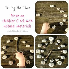 Telling Time: Outdoor Clock made with Natural Materials (from Sun Hats Wellie Boots) Outdoor Activities For Kids, Outdoor Learning, Learning Activities, Kids Learning, Childcare Activities, Learning Spaces, Maths Area, Maths Fun, Outdoor Clock