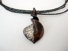Red and Silver Twisted Glass Pendant Necklace by KristasJewellery, $22.00