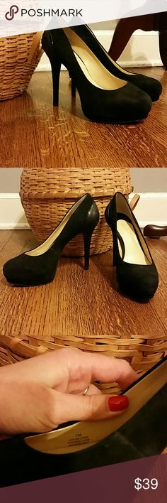 Gianni Bini Black Suede Pumps sz 7 Only worn a handful of times! Excellent used condition, Gianni Bini black suede pumps with snake pattern embossed leather heal detailing, size 7M. Heel is in excellent shape with no dents or scrapes. Make an offer! Gianni Bini Shoes Heels
