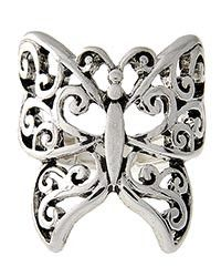 Silver tone Butterfly stretch ring.