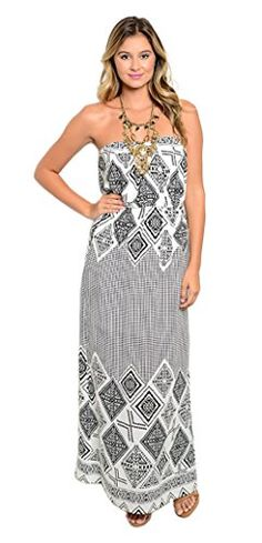 69e83b5c33 Tabeez Women s Strapless Diamond-Print Maxi Dress (Small