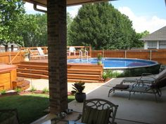 Our Backyard Oasis, A creative way to install an above ground pool. Our yard is small but large in enjoyment., Morning Coffee View    , Patios & Decks Design
