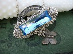 Aquamarine Crystal Necklace with Butterfly - In Flight No 4
