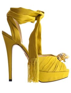 Charlotte Olympia Yellow Ankle Wrap Platform Cheetah Sandals #Shoes #Heels