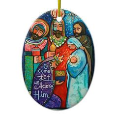 Three Kings Let us Adore Him Christmas ornament - gold gifts golden customize diy Christmas Rock, Christmas Jesus, Christian Christmas, A Christmas Story, Christmas Shopping, Christmas Stuff, Christmas Tree, Painted Christmas Ornaments, Beaded Ornaments