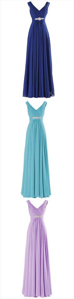 Elegant V Neck A-line Chiffon Long Evening Prom Dress