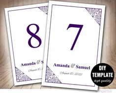 Modern Purple Table Card Template Wedding Table by paperfull
