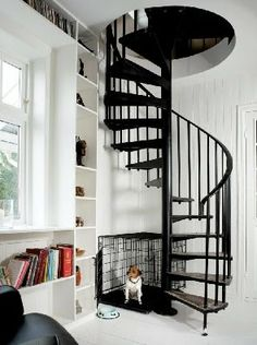 love the stairs and bookshelves
