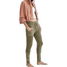 Free People Women's Kyoto Legging ($128) ❤ liked on Polyvore featuring pants, leggings, khaki, brown khaki pants, stretchy leggings, stretch leggings, legging pants and brown pants