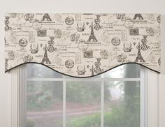 Spruce up any window with this retro-inspired and French-themed valance. This m-shaped valance is made of lined cotton and has rod pocket construction. The simple Parisian pattern adds in Paris Room Decor, Paris Rooms, Paris Bedroom, Paris Theme, Box Valance, Valance Window Treatments, Kitchen Window Treatments, Valance Curtains, Valance Ideas