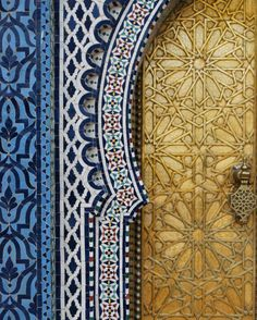 Palace Door with Mosaics in Fez, Morocco on Etsy, $35.00