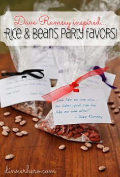 "Dave Ramsey Inspired FPU Rice & Beans Party Favors! Want to give a ""goodie bag"" to FPU class members? Check this out! www.dinnerhero.com"