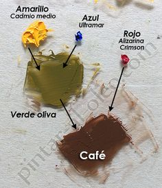 Color verde oliva y café. Color Mixing Guide, Mixing Paint Colors, Painting Lessons, Painting Tips, Art Lessons, Furniture Painting Techniques, Art Techniques, Color Pallets, Color Theory