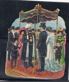 Judaica Old Litho Jewish Die Cut Prize Wedding 1900's
