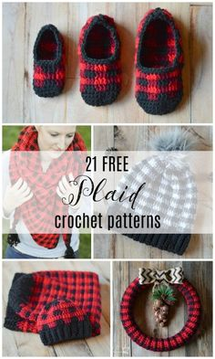 Crochet Tutorial Patterns Mad About Plaid – 21 FREE Crochet Plaid Projects - 21 FREE Crochet Plaid Projects - Mad about Plaid? Get your fix with theses stunning plaid crochet patterns, designed for you, your family and your home. Crochet Booties Pattern, Plaid Crochet, Crochet Stitches Patterns, Crochet Slippers, Crochet Beanie, Knit Or Crochet, Crochet Gifts, Dishcloth Crochet, Simple Crochet