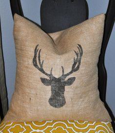 Burlap Pillow with Reindeer / Deer Silhouette 18 x by NaptimeDIYer, $20.00