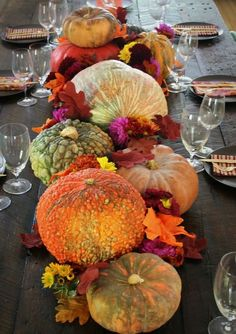 A Thanksgiving Table arrangement using items purchased at the grocery store.