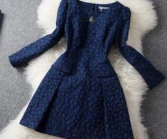 High Quality Vintage Diamond Embroidered Long Sleeve Dress_Sheloveit