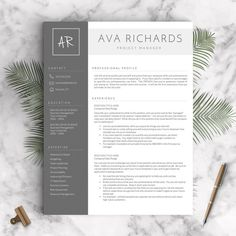 Professional Resume Template for Word, 1 - 3 Pages  + Cover Letter + References + Tips | Modern Resume Template for Word | INSTANT DOWNLOAD