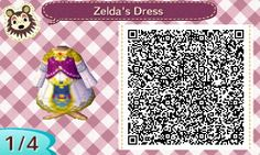 ZELDAS DRESS (TWILIGHT PRINCESS) ANIMAL CROSSING NEW LEAF. QR CODE. ACNL. PINNED BY Stephy Sama