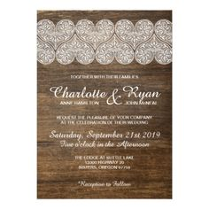 #wood - #Wood and Lace wedding invitation with hearts