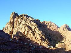 Mount Sinai Egypt: Egyptian Arabic 'Gabal Musa', lit. 'Moses' Mountain' or 'Mount Moses'. Also known as Mount Horeb, is a mountain in the Sinai Peninsula of Egypt. According to Jewish, Christian and Islamic tradition, the biblical Mount Sinai was the place where Moses received the Ten Commandments. ( http://en.wikipedia.org/wiki/Mount_Sinai )
