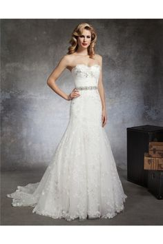 trumpet mermaid strapless sweetheart lace crystal beaded belt wedding dress with flowers