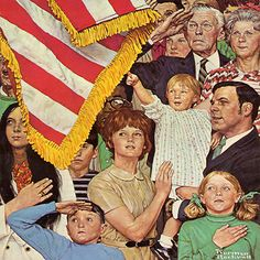 Salute the Flag By Norman Rockwell Canvas Print #NRL205