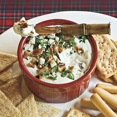 Bacon-Cheese Dip | Crumbled bacon is the crowning glory of this creamy cheese dip that features cream cheese, blue cheese, and sour cream. You're guaranteed not to have any leftovers when you bring this dip to a party. | SouthernLiving.com