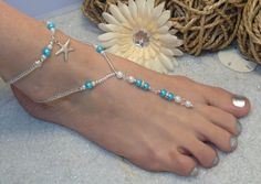 Starfish Foot Jewelry Wedding Barefoot Sandal and Anklet, Pearl and Rhinestone on Etsy, $34.75