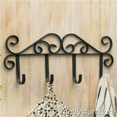 Iron Scroll Wall Hook Coat & Hat Rack with 4 Hooks Metal Arch, Metal Shelf Brackets, Copper Highlights, Wrought Iron Decor, Shelving Design, Door Casing, Wine Glass Holder, Iron Furniture, Iron Table