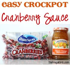 Easy Crockpot Cranberry Sauce Recipe. This is very easy to  make! I skimped a little on the sugar and added a little extra marmalade. I used a store-brand marmalade rather than the Smucker's in the recipe. This is pretty good stuff! It is a little on the thin side compared to the canned cranberry sauce most of us grew up on, but very tasty.