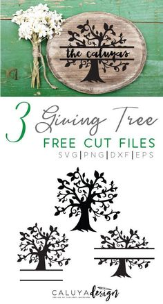 Free 3 Giving Tree SVG cut files download- compatible with Cricut, Cameo Silhouette and other major cutting machines. Perfect for wedding projects, wedding decor, DIY craft projects, family sigh, home sign, wooden sign, DIY wooden plaque signs and more! T