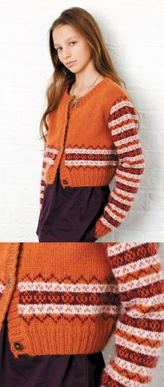 Free Knitting Patterns for Girls free knitting pattern for a girls fair isle cardigan. Halloween Knitting Patterns, Fair Isle Knitting Patterns, Baby Cardigan Knitting Pattern, Lace Knitting, Knit Patterns, Simple Knitting, Knitting Projects, Knit Crochet, Motif Fair Isle