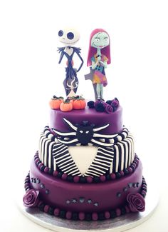 The Nightmare Before Christmas wedding cake! My first wedding cake made for my friend. I am so proud of this cake!