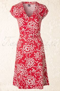 Wow To Go! - 60s Sandy Floral A-Line Dress in Red