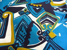 Vintage Abstract Tiki Barkcloth