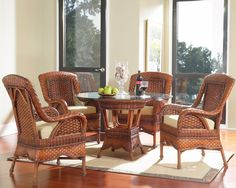 Modern Wicker   South Sea Rattan Autumn Morning Indoor Wicker Dining Room  Set, $2,222.00 (