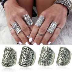 Bohemian Vintage Unique Carving Tibetan Silver Plated Ring Set - Pluto99