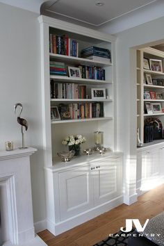 Alcove fitted shelving, traditional look