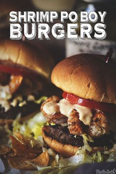 Shrimp Po Boy Burger recipe. Cajun spiced all beef patty with spicy grilled #shrimp and a zesty remoulade sauce