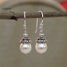 Sterling Silver Crowned White Cultured Pearl Drop by DJStrang Wire Jewelry, Boho Jewelry, Jewelry Crafts, Beaded Jewelry, Jewelery, Silver Jewelry, Jewelry Necklaces, Jewelry Design, Silver Pearls