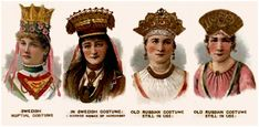 Swedish and Russian wedding head dresses