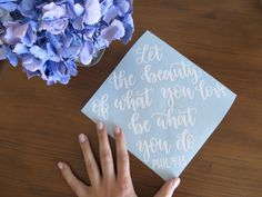Let the beauty of what you love be what you do // custom graduation cap quote, grad cap decor, decorations, lettering, white decal