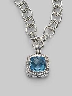 David Yurman - Albion Pendant with Hampton Blue Topaz and Diamonds Stylish Jewelry, Jewelry Accessories, Fashion Jewelry, Women Jewelry, Jewelry Design, Diamond Jewelry, Silver Jewelry, Silver Ring, Silver Earrings