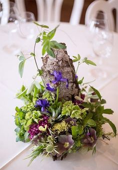 woodland centerpiece with pink and purple accent 3, Methven Vineyards, Françoise Weeks