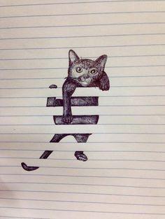Image via We Heart It #animal #art #cat #craft #drawing #friends #hate #love #quote #hangon